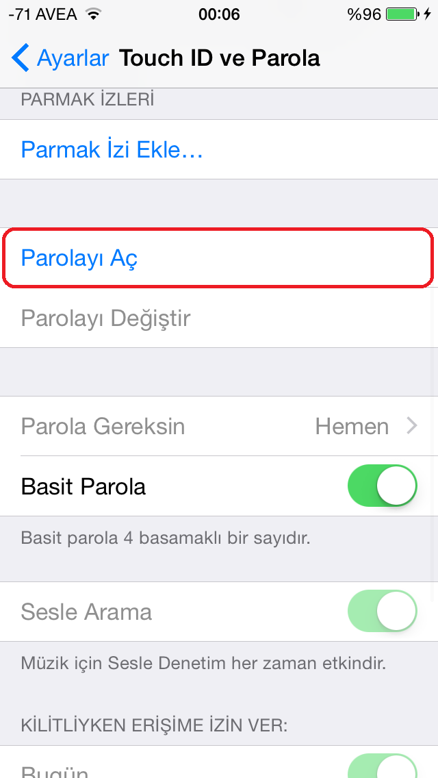 iphone yazilim guncelleme parola
